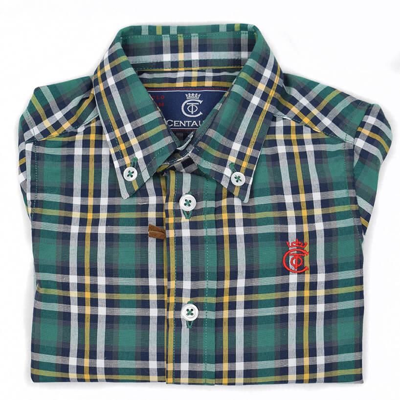 b32d09622 Camisa niño verde caza centauro. Camisa de niño manga larga de ...
