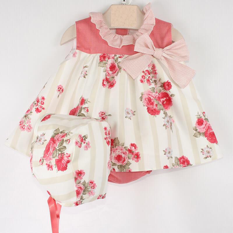 d21953bc8 Vestido Del Sur con capota y braguita Coral. Vestido de bebe Del Sur ...
