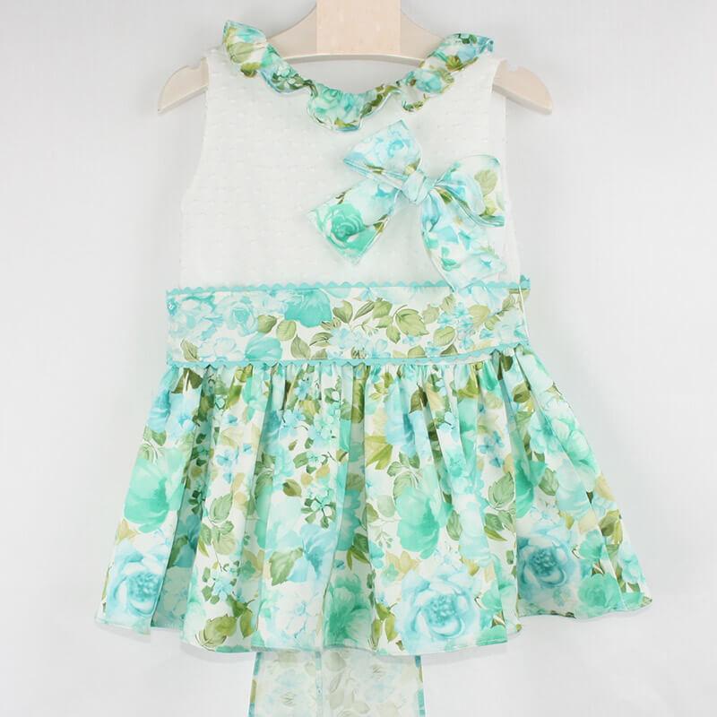78302115d Vestido estampado flores verde agua. Vestido de niña para vestir o ...