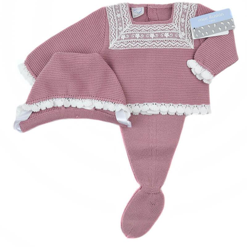 9d81b5b3c71c7 Conjunto recién nacido lana orquidea puntilla Mac. Nueva temporada ...