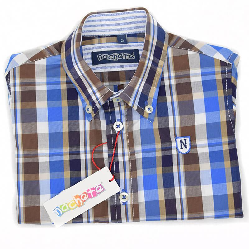 Camisa cuadros marrón Nachete. Camisa de niño manga larga de vestir ... da8c4d27878