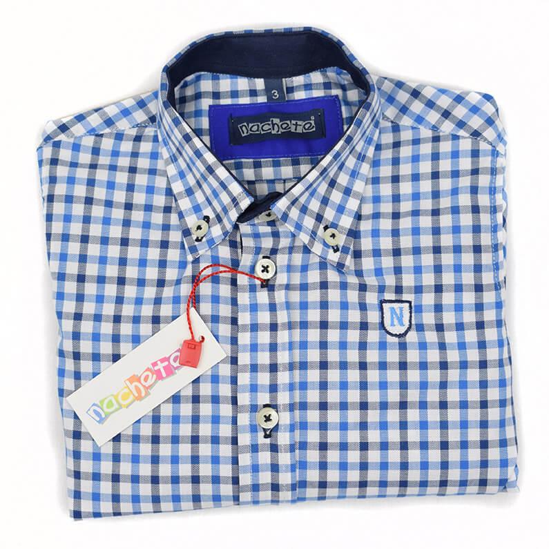 665a6c2f0 Camisa cuadros marino Nachete. Camisa de niño manga larga de vestir ...