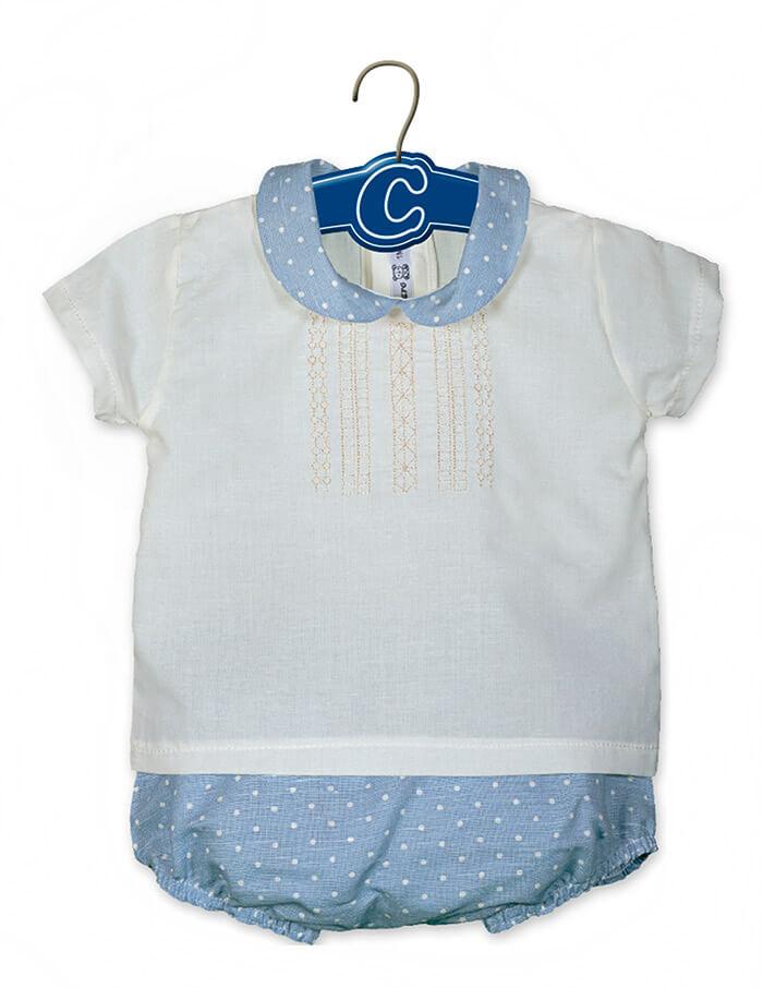 c6c5e01fe Foto 1 de Traje de bebé con topitos, OUTLET VERANO, en Dedos Moda Infantil  ...