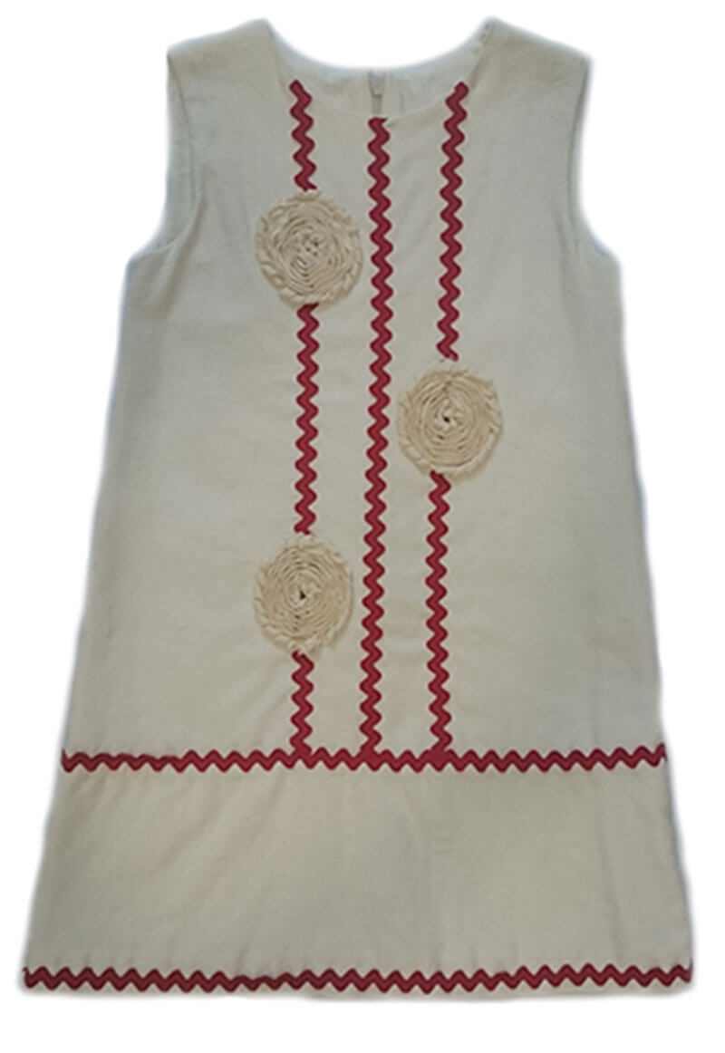 74614f749 Vestido lino beige rojo Yoedu. Outlet moda infantil. Rebajas ...