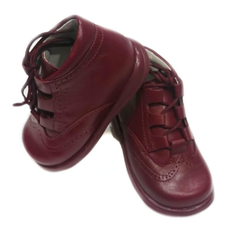 2a0f612041f7b Foto 1 de Zapato niño ingles tipo bota de color burdeos mod 9111 de bambi